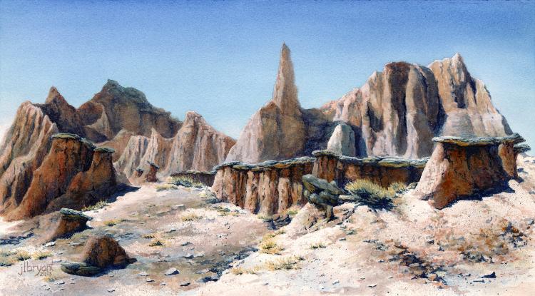"""Hidden Monuments  watercolor : 8.875 x 16"""" : print $100 : original sold"""