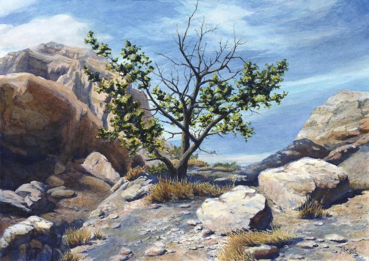 "Above Cedar Pass  watercolor : 14 x 20"" : print $175 : original available"