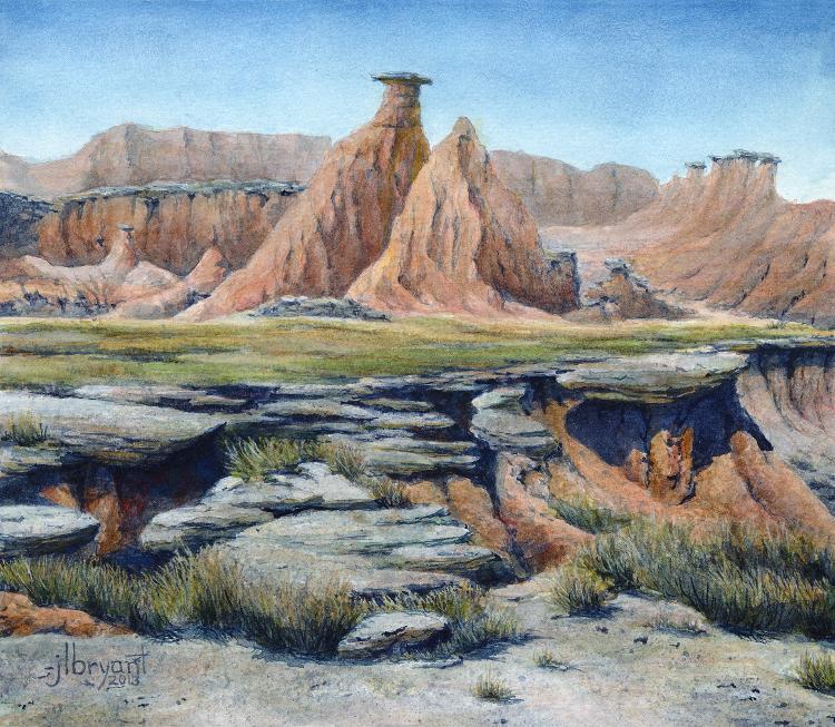 "Erosion in the Palmer Creek Unit  watercolor : 6.75 x 7.75"" : print $35 : original sold"