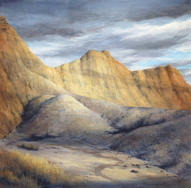 "Badlands at My Door  watercolor : 21 x 21"" : print $275 : original available"