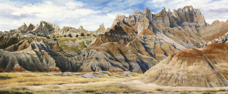 "North Unit: Cedar Pass Area  watercolor : 24 x 10"" : print $150 : original NFS"