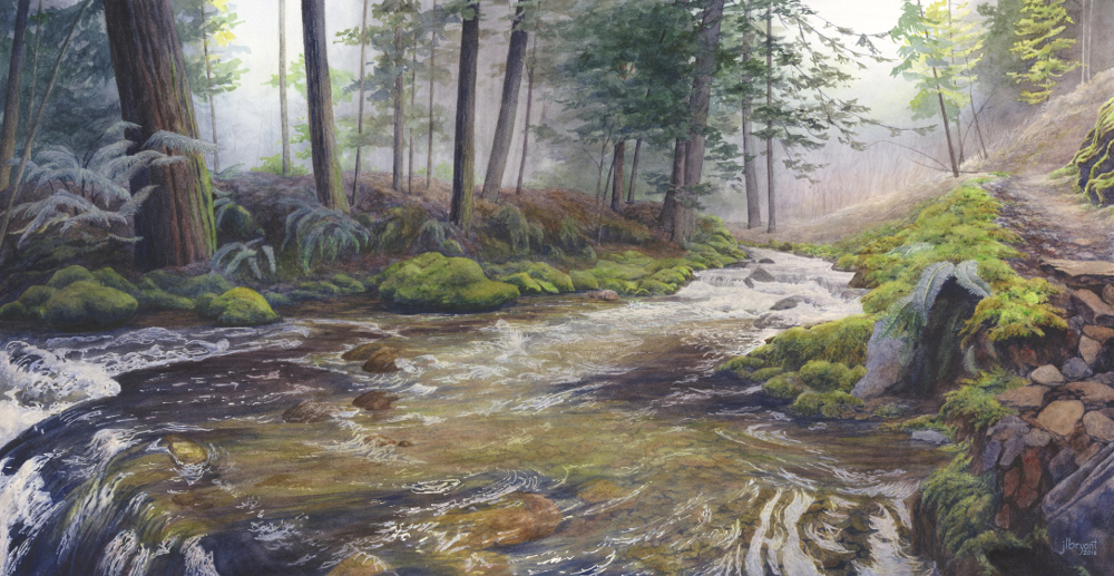 "Placer Creek from Pulaski Trail  watercolor : 15 x 29"" : print $275 : original sold"