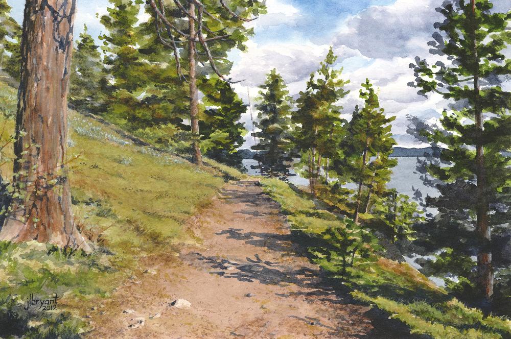 "Tubbs Hill: Trail  watercolor : 12 x 8"" : print $70 : original sold"