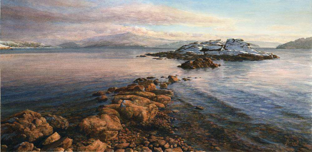"Tubbs Hill: Corbin Point in Winter  watercolor : 14 x 28"" : print $200 : original sold"