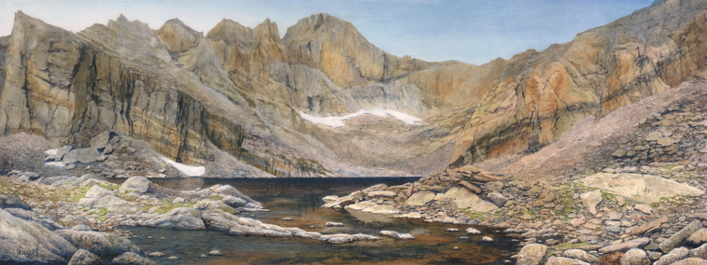 "Chasm Lake, Rocky Mountain National Park  watercolor : 10.5 x 28"" : print $190 : original sold"