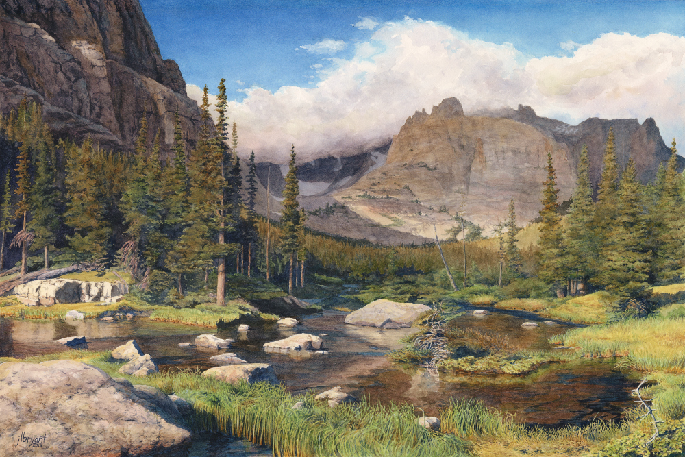"Approaching The Loch, Rocky Mountain National Park  watercolor : 16 x 24"" : print $250 : original sold"