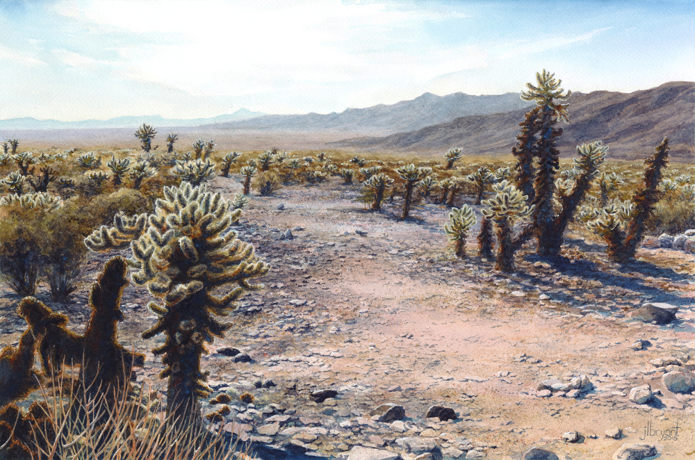 "Cholla Cactus Garden, Joshua Tree National Park  watercolor : 12 x 18"" : print $140 : original available"