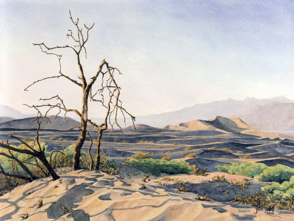 "Dunes at Stovepipe Wells, Death Valley National Park  watercolor : 9 x 12"" : original available"