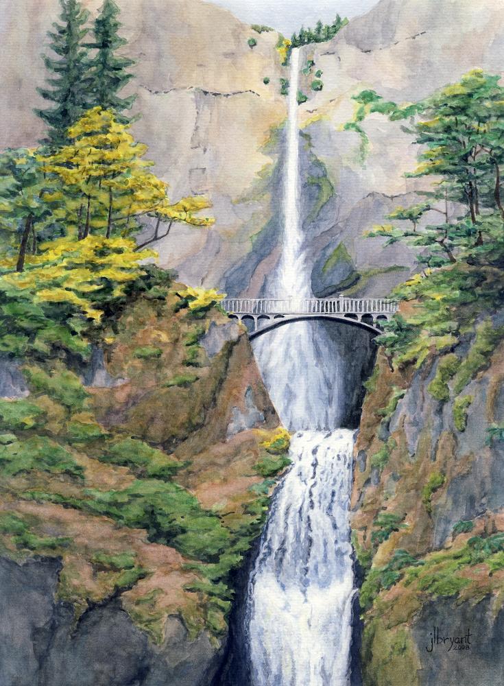 """Multnomah Falls  watercolor : 12 x 16"""" : print $115 : original sold"""
