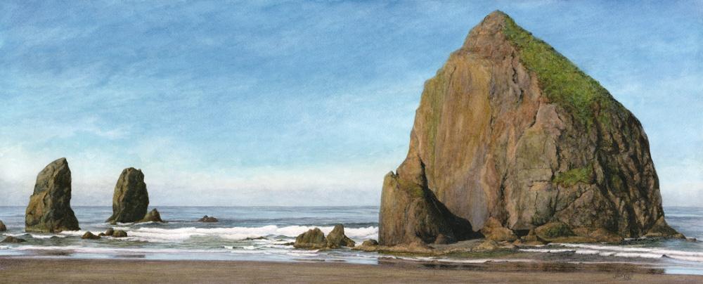 """Haystack Rock, Cannon Beach  watercolor : 12 x 29"""" : print $200 : original sold"""