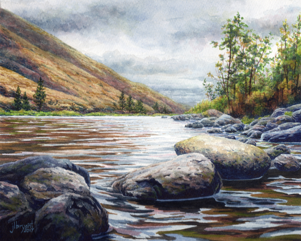 "Salmon River at Hammer Creek  watercolor : 8 x 10"" : original available through  The Art Spirit Gallery"