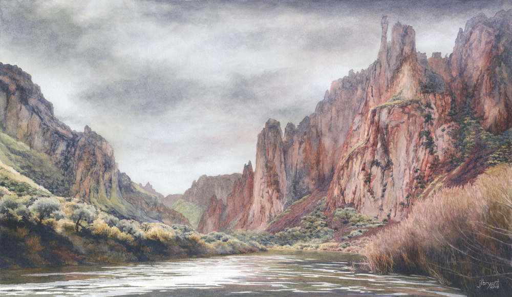 "South Fork Owyhee River  watercolor : 12 x 21"" : print $160 : original sold"