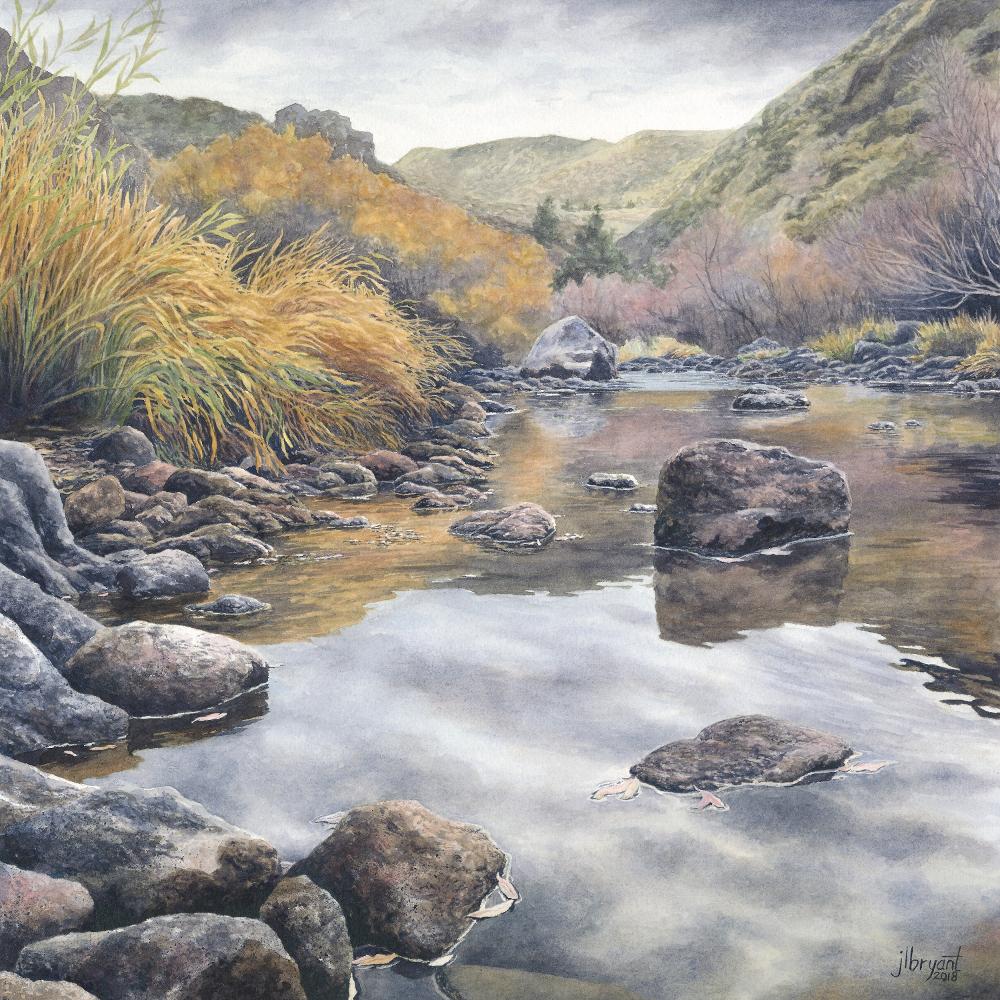 """Main Owyhee River  watercolor : 14 x 14"""" : print $130 : original sold"""