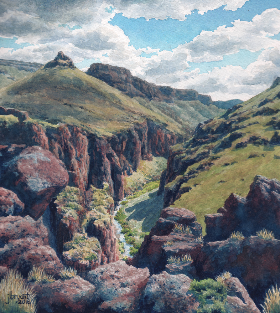 "Big Jacks Creek  watercolor : 9 x 8"" : original available"