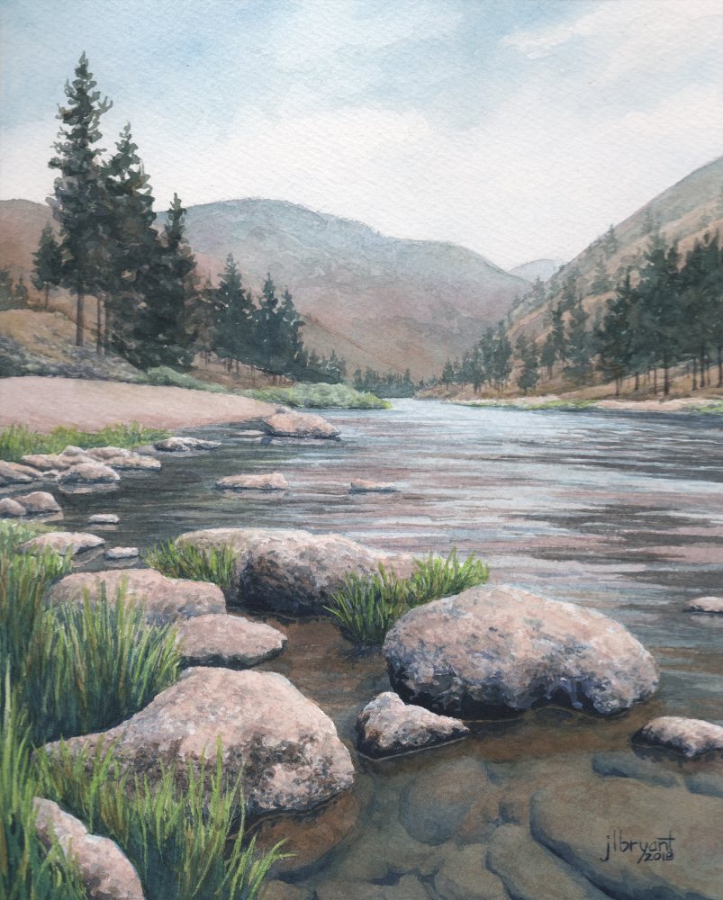 """Salmon River at Alison Creek  watercolor : 10 x 8"""" : original sold"""