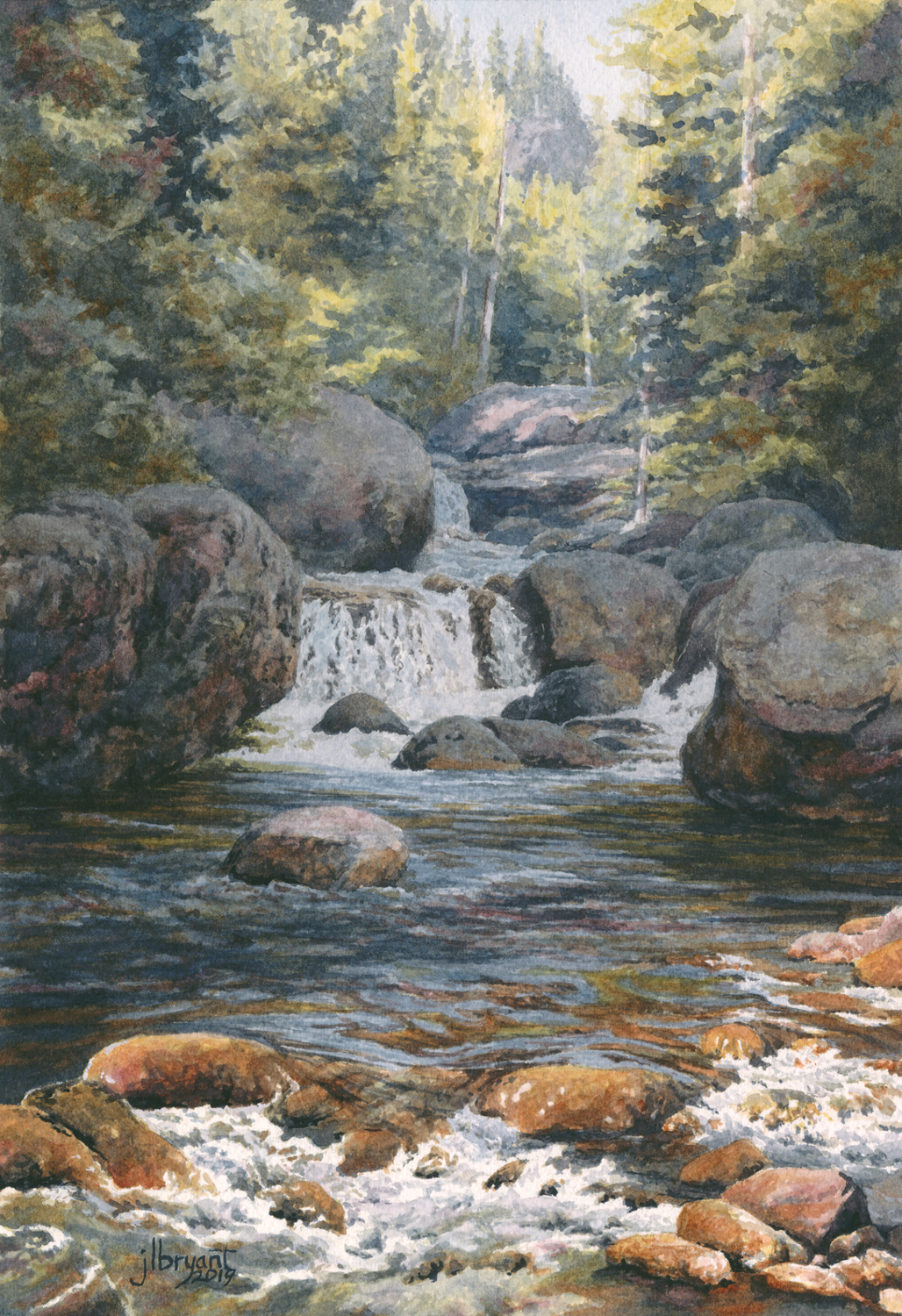 "Copeland Falls, Rocky Mountain National Park  watercolor : 10.5 x 7"" : print $60 : original available through  Coeur d'Alene Galleries"
