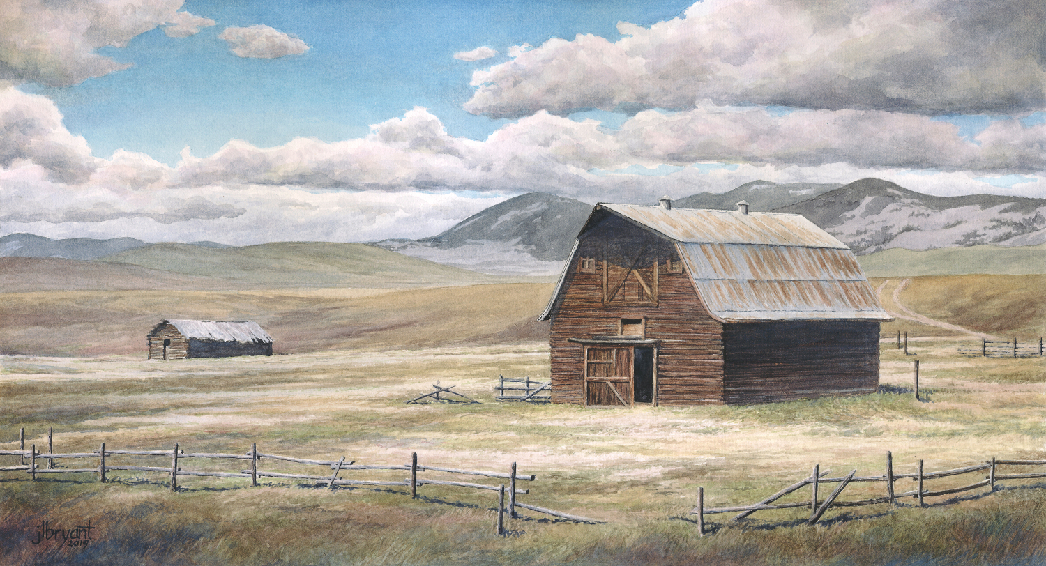 "West Barn  watercolor : 9 x 17"" : print $100 : original available through  Coeur d'Alene Galleries"