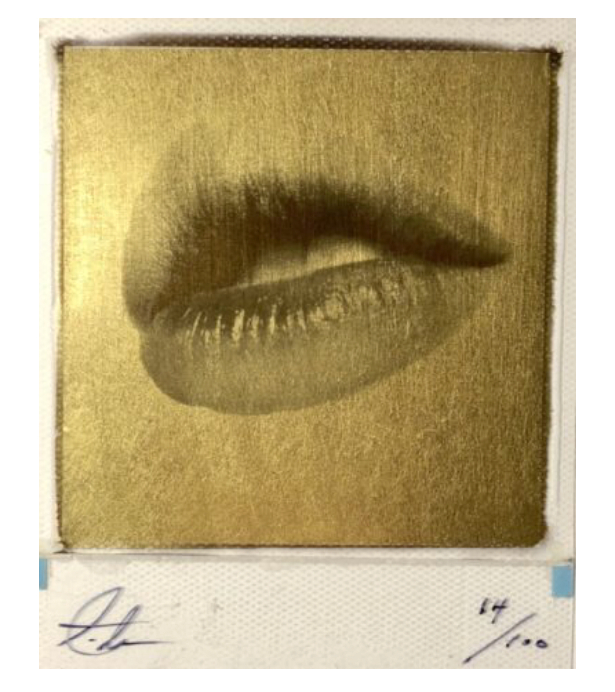 Lips by Andrew J Millar. 24 carat gold leaf on Polaroid.