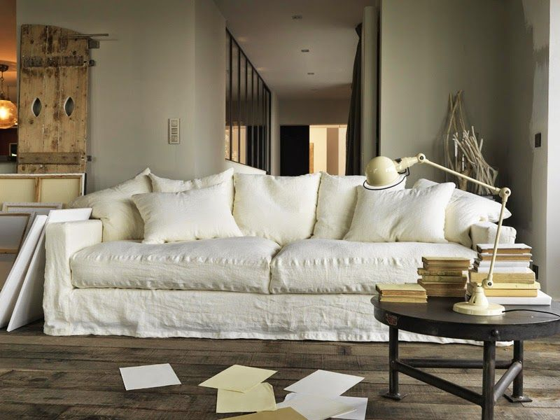 Be still my beating heart …the perfect crumpled linen sofa. Image from Pinterest.