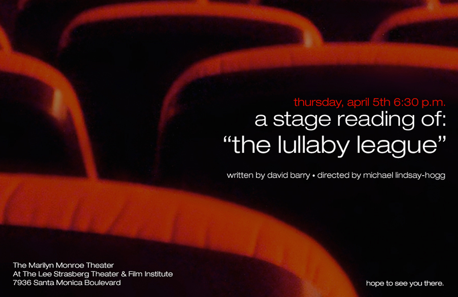 Stage reading for   The Lullaby League  , the commercial TV script for which   Tinsel's Town   is the sequel.