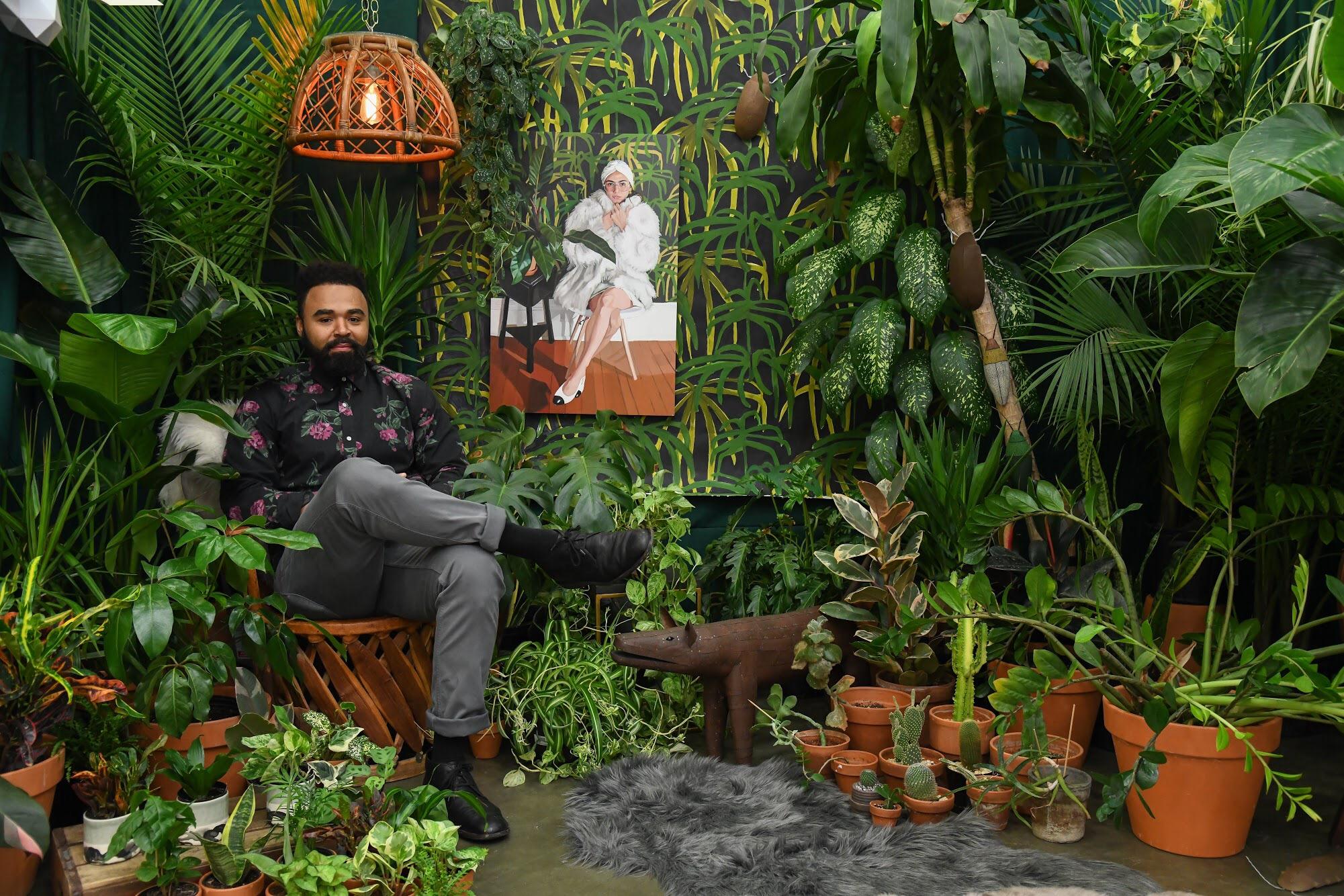 Designer  Hilton Carter  in his Make Room Indoor Jungle featuring artwork by  Erin Fitzpatrick ,  Paul Sumner , and  Elizabeth Benotti .