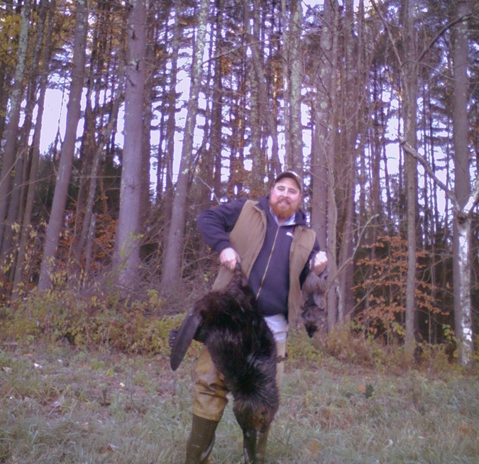 The author with a morning's bounty of beaver and muskrat.