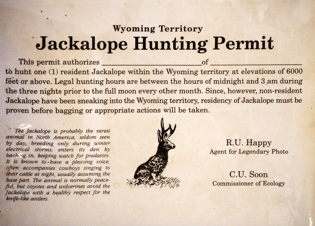 Shown is a historic Jackalope hunting permit from Wyoming, where Jackalope hunting is currently permited today with limited criticism  (public domain image) .