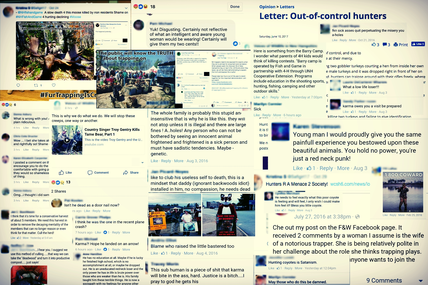 """A very small cross-section of the procurement of screen-shots from local NH and VT """"animal rights"""" members over the last few years. Not a very neighborly bunch! (Names have been censored for this public post - these people humiliate themselves, no need for us to assist further.)"""