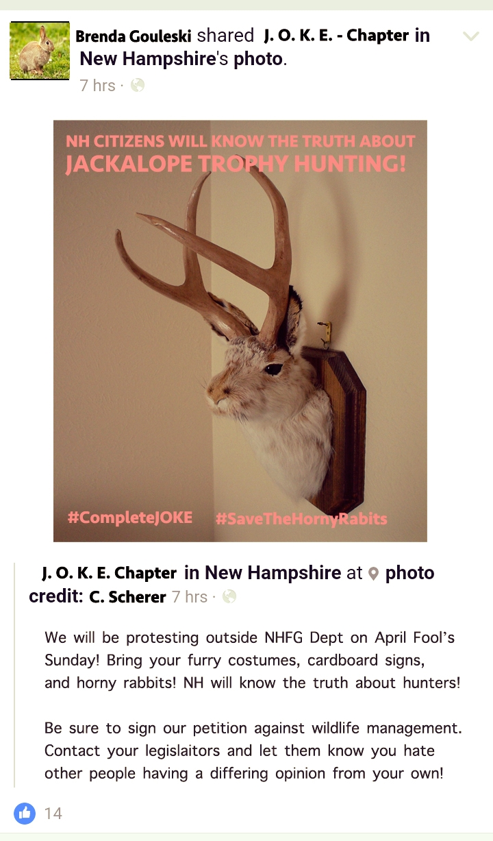 A recent social media post from NH-J.O.K.E. who plans to protest the Jackalope hunting season outside NHFG's Concord headquarters.