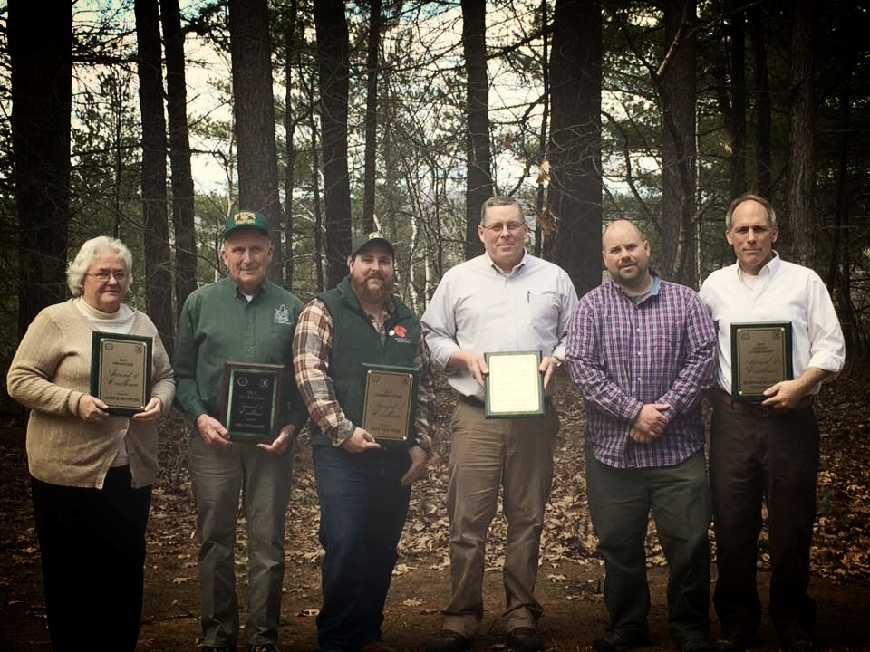Recipients of the 2017 NHF&G Awards of Excellence. Janice Boynton, Dan Dockham, Jeff Traynor, Larry Barker, and Bear-Paw Regional Greenways,