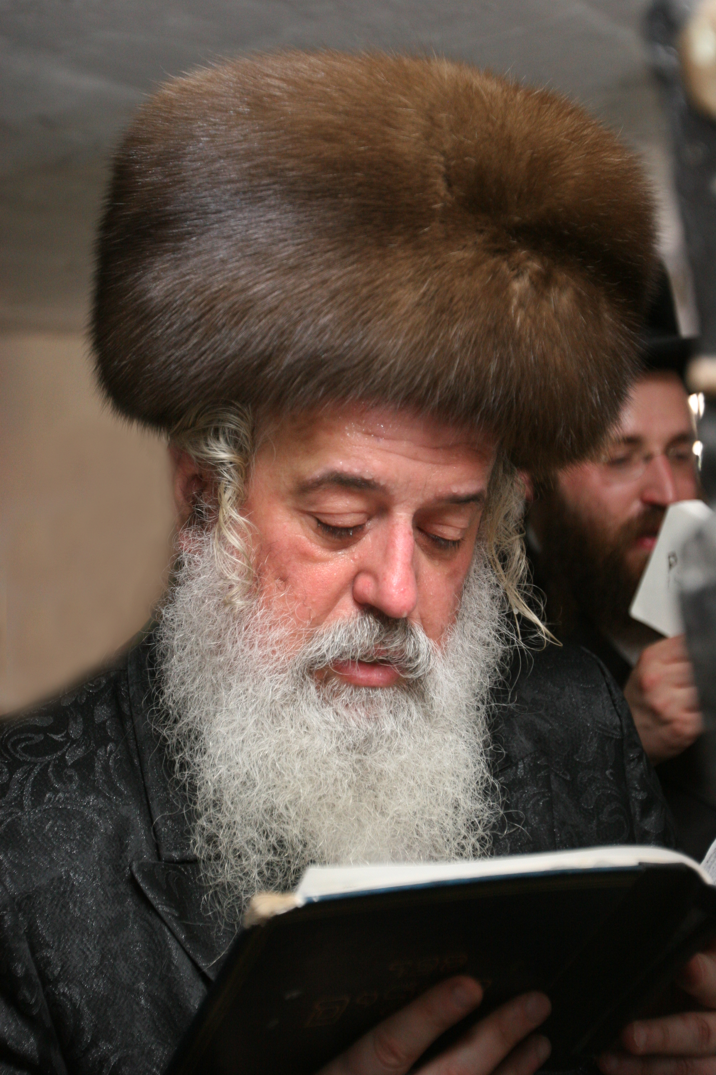 Rabbi Moshe Leib Rabinovich, Munkacser Rebbe, wearing a kolpik. The  kolpik  is made from brown fur. Many in the Jewish community weighed in on the NYC Fur ban citing the ban would impede religious freedom.
