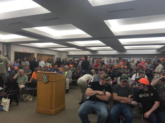 NH Sportsmen fill the NHF&G Headquarters during a Commission public hearing on rule changes driven by animal rights activists to restrict rabbit and fox hunting. (Photo | NH Wildlife Federation)
