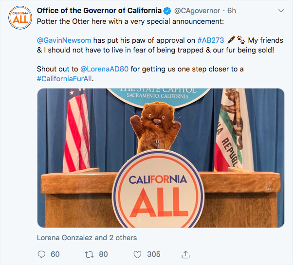 A screen-shot of the California Governor's Office official Twitter page announcing Wednesday's statewide trapping ban; supported and signed into law by Governor Newsom.