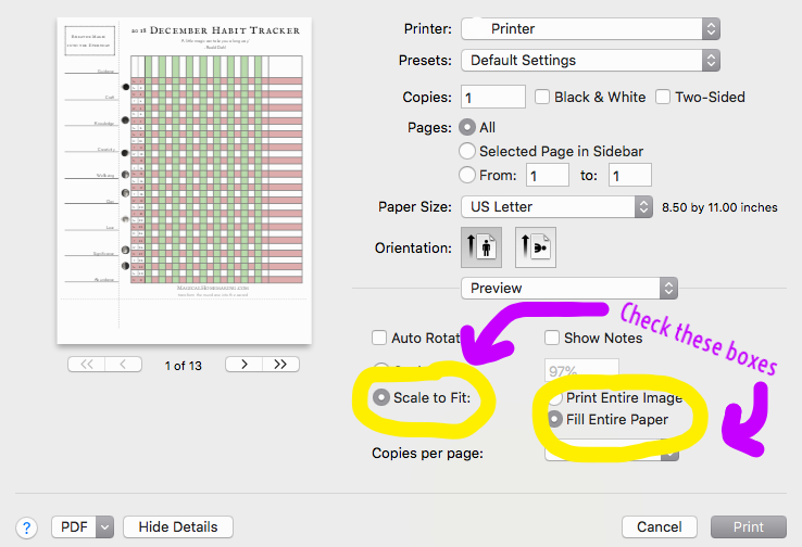 Habit Trackers Printer Settings
