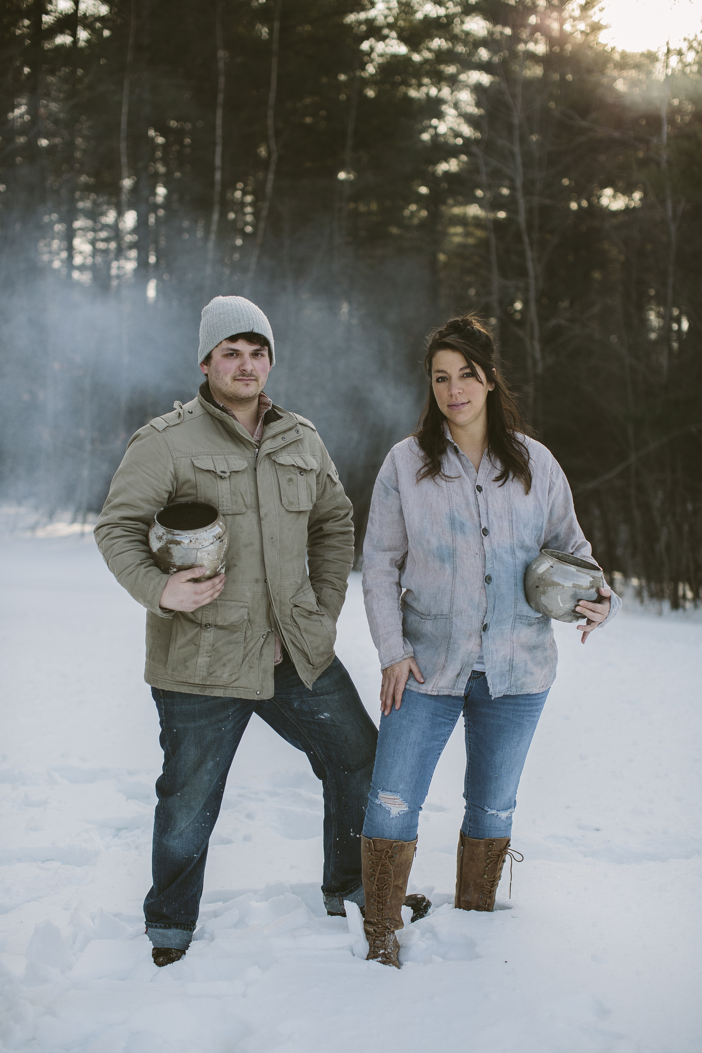 Campfire Studio owners Joe and Kristen Camp after a Raku firing in January in Maine, one week before Kristen gave birth to their daughter Florence. Girl power.