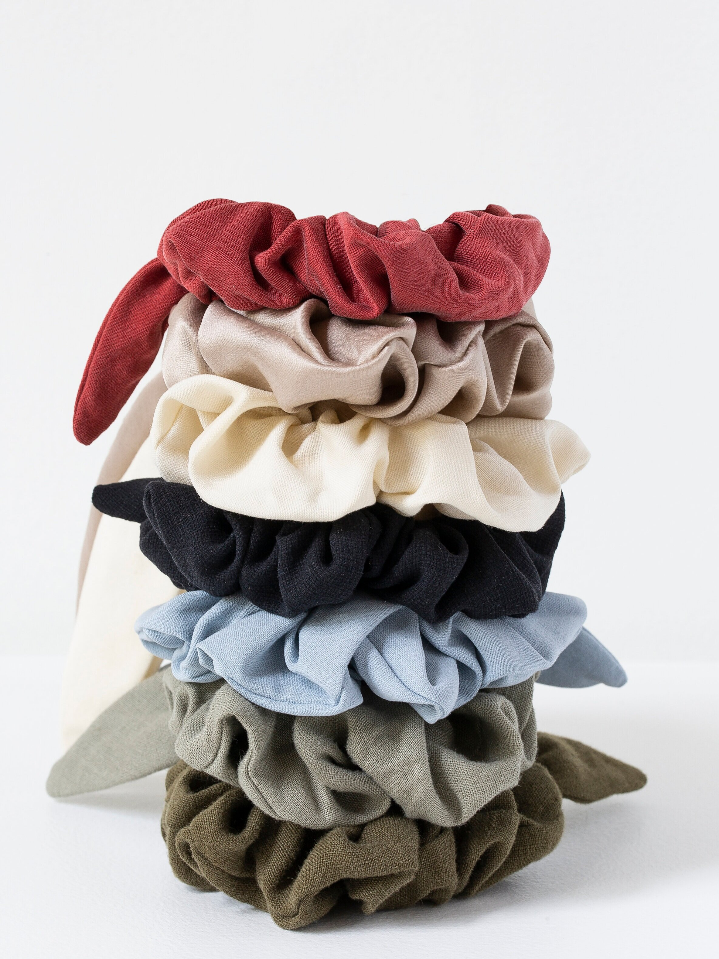 Zero Waste Scrunchies - Designs handmade from silk and linen thrifted shirts