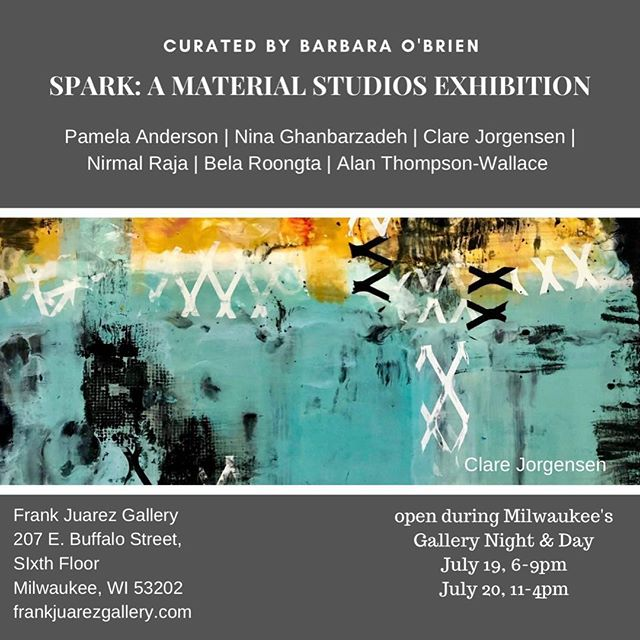 """Please join me today Saturday 7/20/19 at 2:00pm @frankjuarezgallery for a curator/artists' talk with curator @barbaraobrienart  @belasuresh  @nina_ghanbarzadeh  @nirmal.raja  @alanthompsonwallaceart  @pamelaandersonstudio  And me @clarejorgensenstudio  about the exhibition """"SPARK"""". It will happen on the 6th Fl of @MarshallBldg inside @material_studios_and_gallery"""