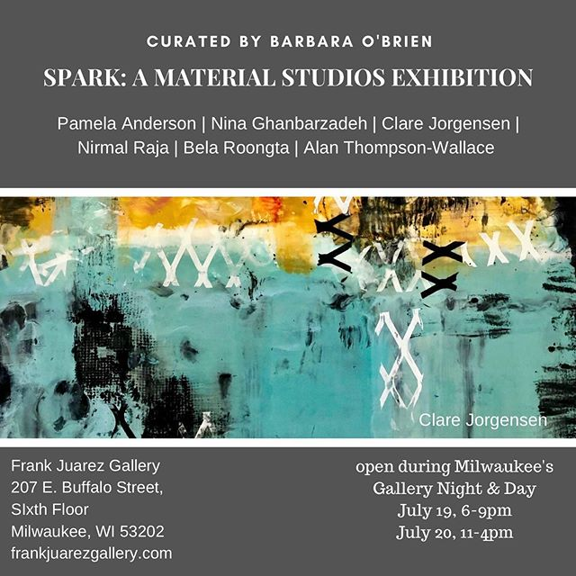 If you're planning on being out today for the @historicthirdward art fair or just looking for an uplifting experience. Pop into @frankjuarezgallery for the final day of SPARK Exhibition curated by @barbaraobrienart.  Open from 11-4 today.  Don't miss it! During the past year, Curator Barbara O'Brien engaged with me in lively and rich exchanges that culminated in new and fulfilling work featured in SPARK.  It was such a pleasure working with Barbara in opening new avenues of thought and technique.  My fellow artists in the exhibition are @pamelaandersonstudio @nina_ghanbarzadeh  @nirmal.raja  @belasuresh  @alanthompsonwallaceart
