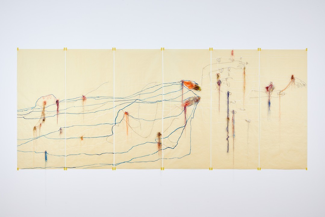 Wura-Natasha Ogunji The proof, an undersea volcano, attraction, extraction, distraction, 2017  Thread, ink on tracing paper  6 panels (60 x 24 inches each)  Photo- Andy Stagg