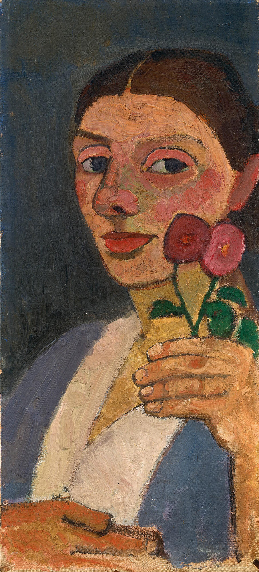 Paula Modersohn-Becker (German, 1876-1907).  Selbstbildnis mit zwei Blumen in der erhobenen linken Hand [Self-Portrait with Two Flowers in her Raised Left Hand].  1907. Oil on canvas. 21 3/4 x 9 6/8 in. (55 x 25 cm). The Museum of Modern Art, Gift of Debra and Leon Black, and The Neue Galerie, Gift of Ronald S. Lauder.