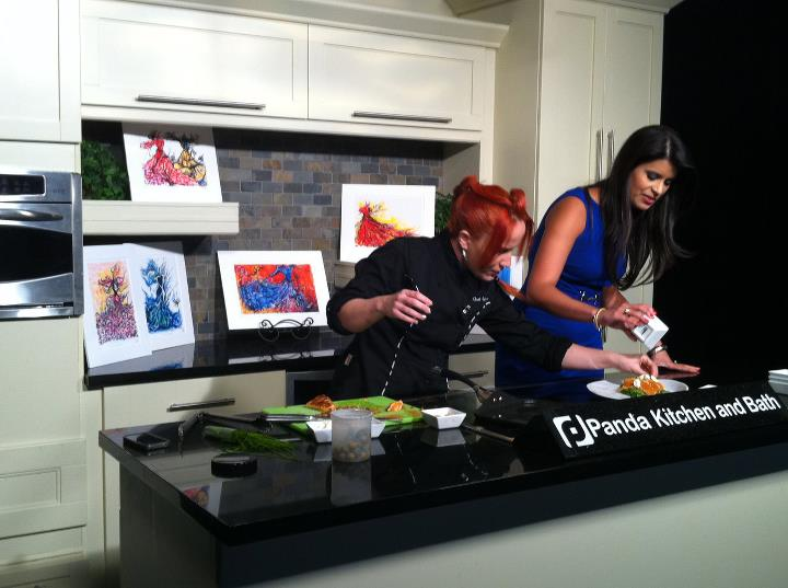 NBC6 Miami's Live Cooking - Nicolle's art was selected to decorate the set of NBC6 Miami's Live Cooking with Chef Adrianne for over 30 episodes.