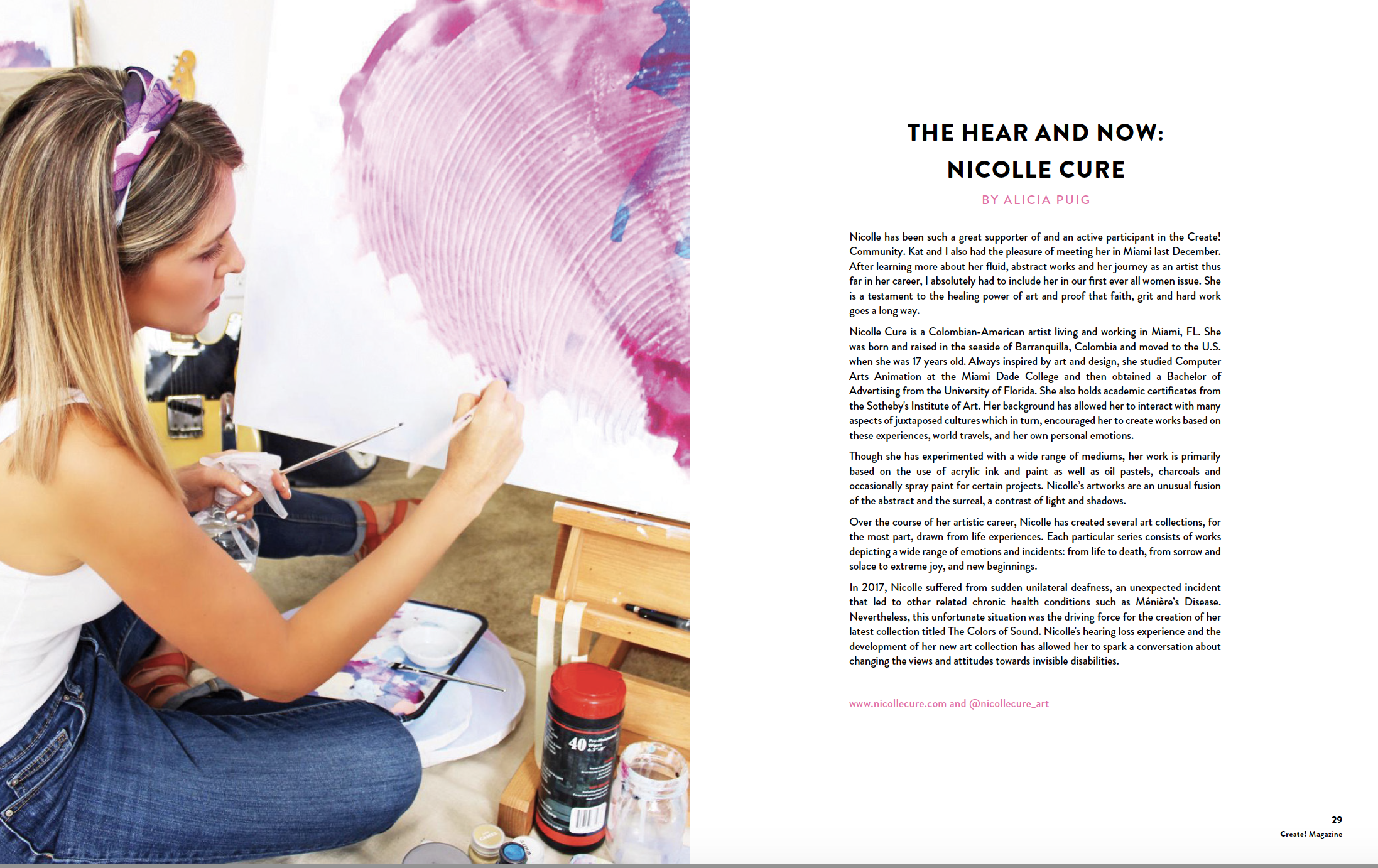 Create! Magazine International Women's Issue 2019 —   READ FULL INTERVIEW HERE