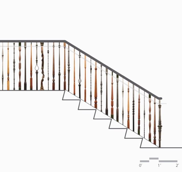 We are underway on 60 feet of railing for Beth Am Synagogue in Baltimore. Over 150 unique, salvaged pickets will wind their way up this staircase, representing the diverse congregation #designbuild #baltimore #reservoirhill