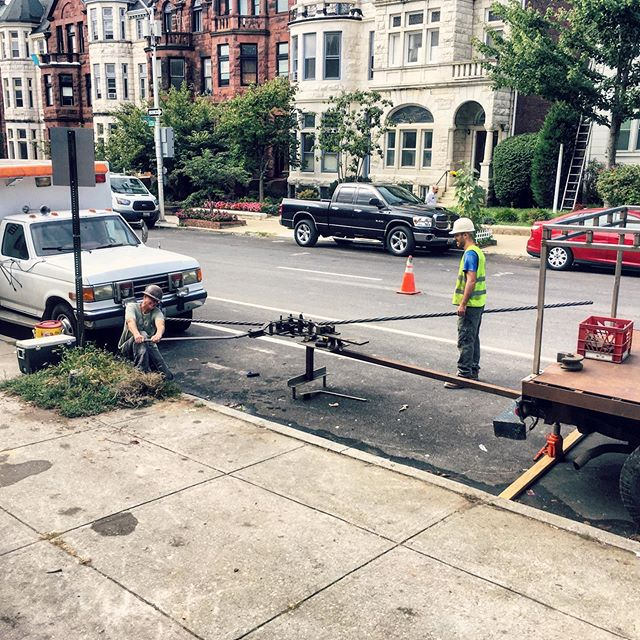 Our Hossfeld Bender relocated to the 2500 block of Eutaw Place today for handrail bending #onsite