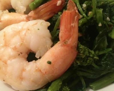 Rabe and shrimp