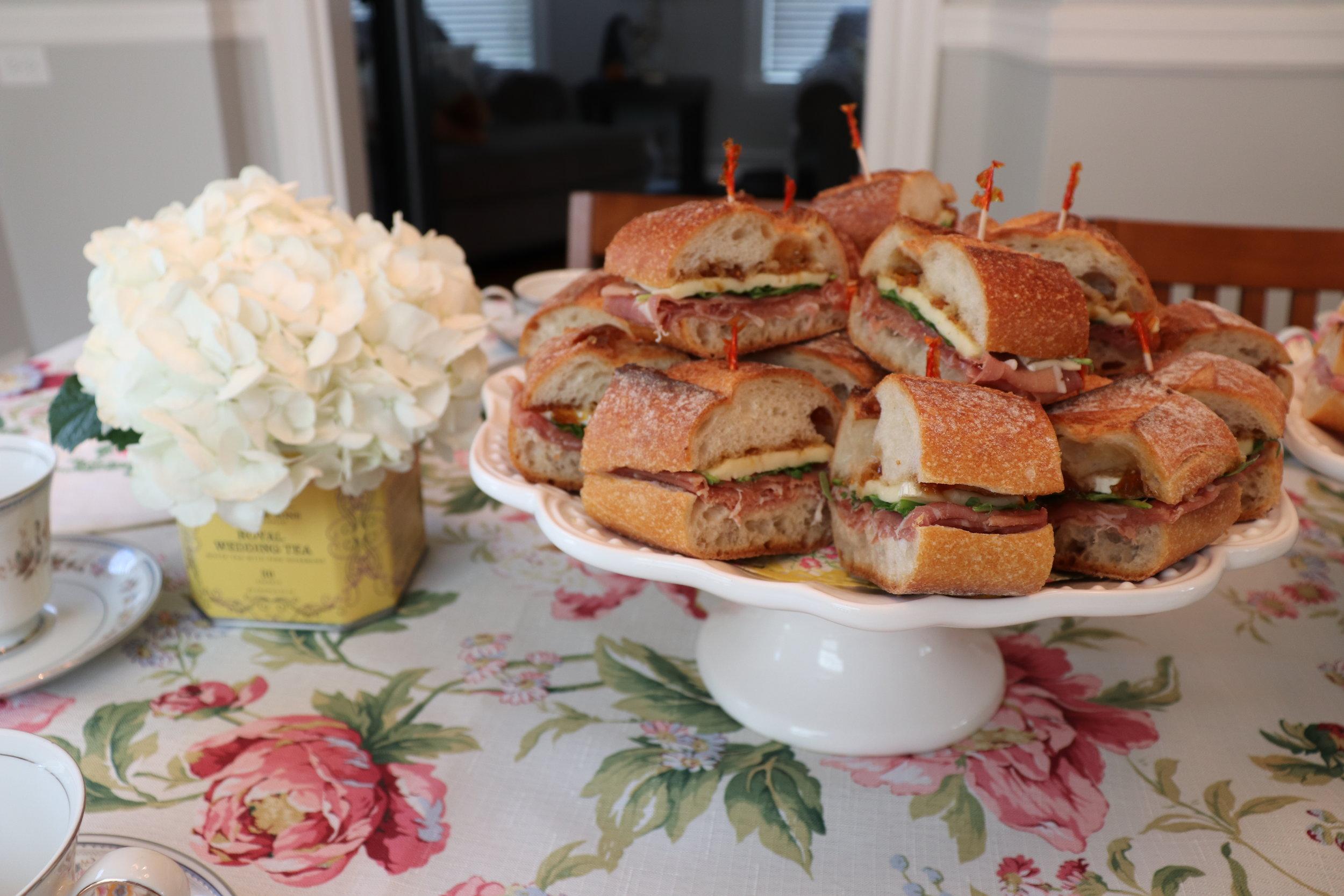 Prosciutto, brie, and fig sandwiches