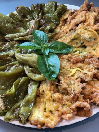 Fried squash flowers and Italian peppers