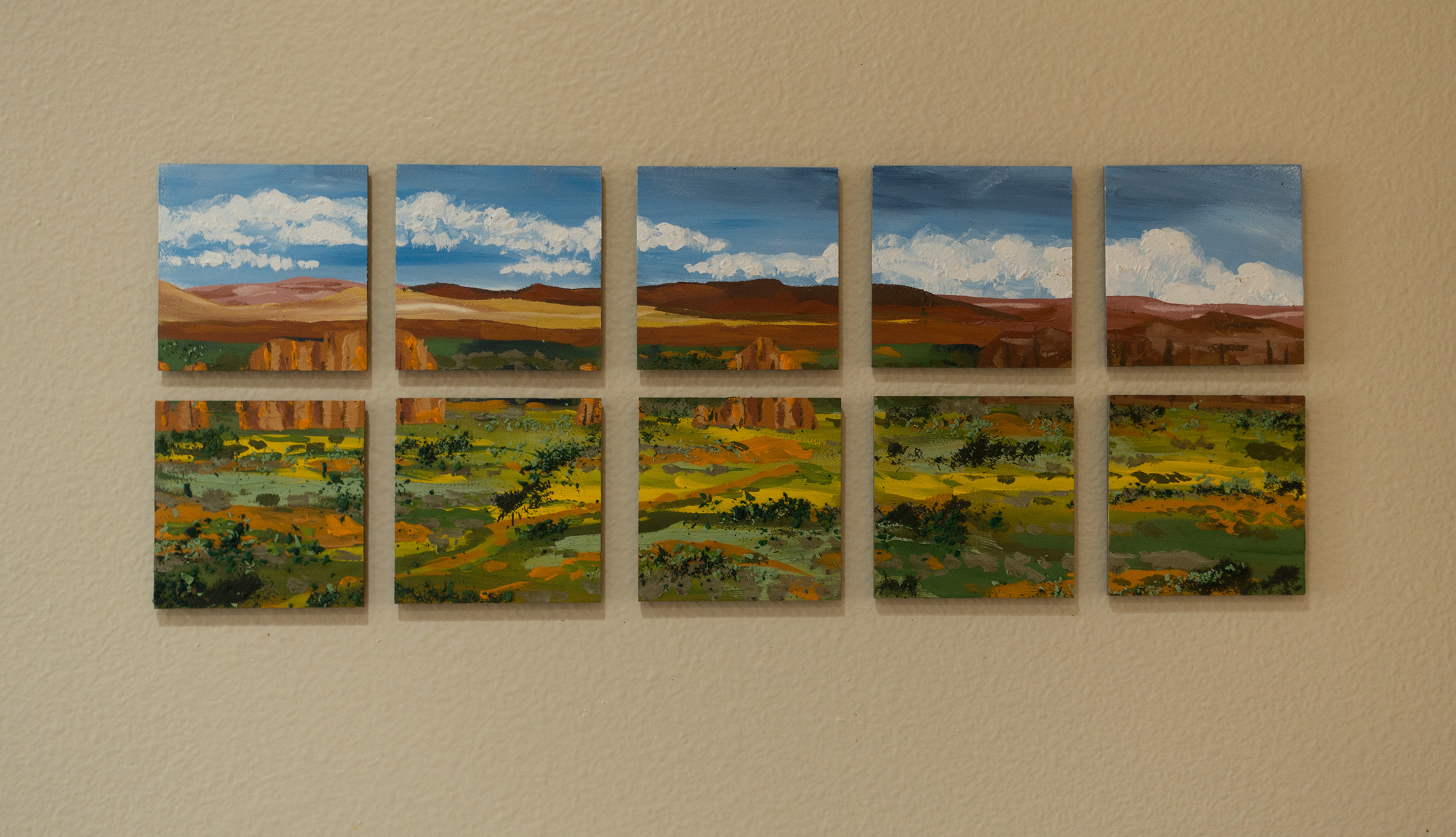 Finished piece installed on my kitchen wall, attached with 3M Command Strips.