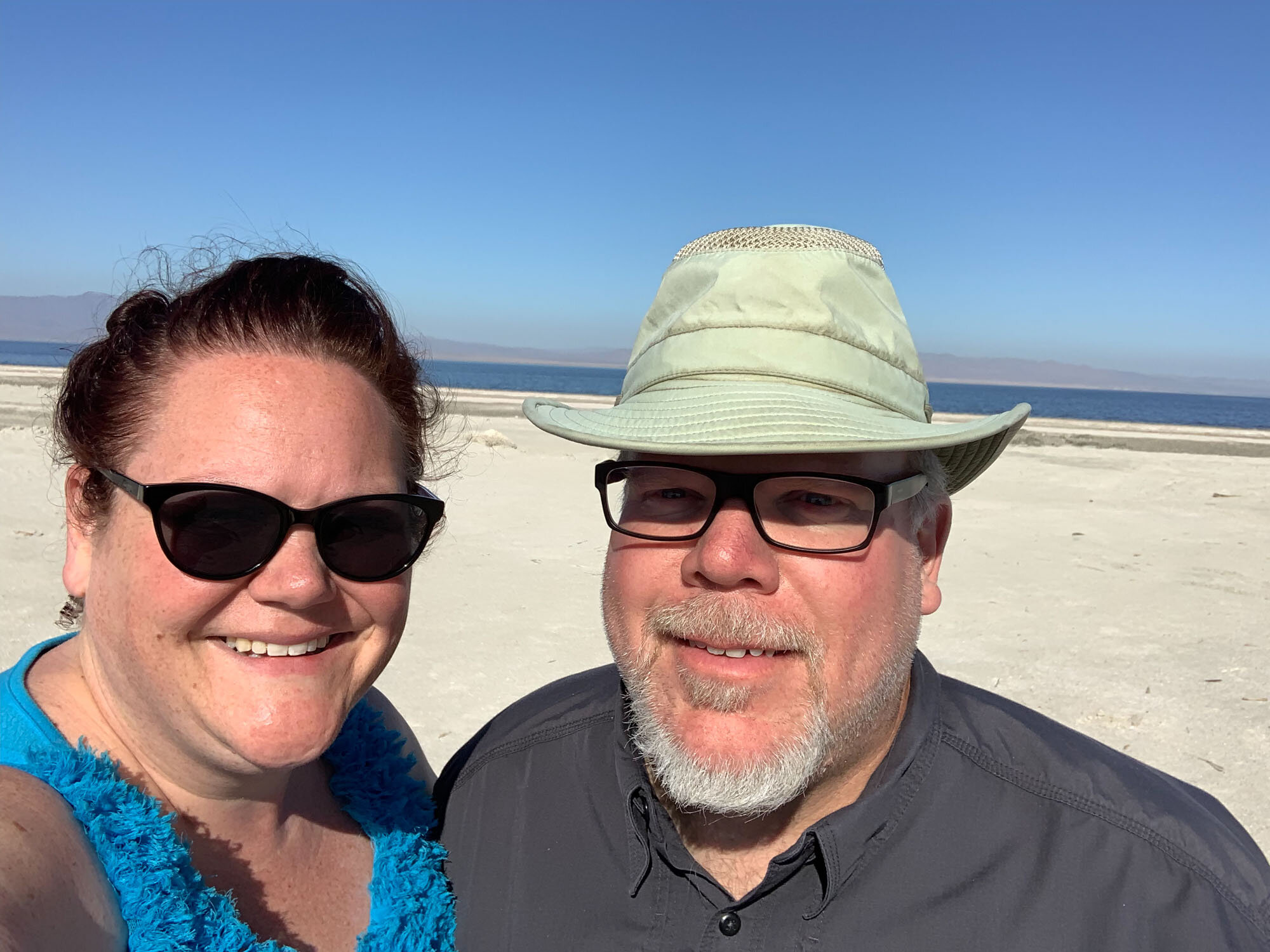 Beth and I looking a little squinty and sun-kissed at the Salton Sea.