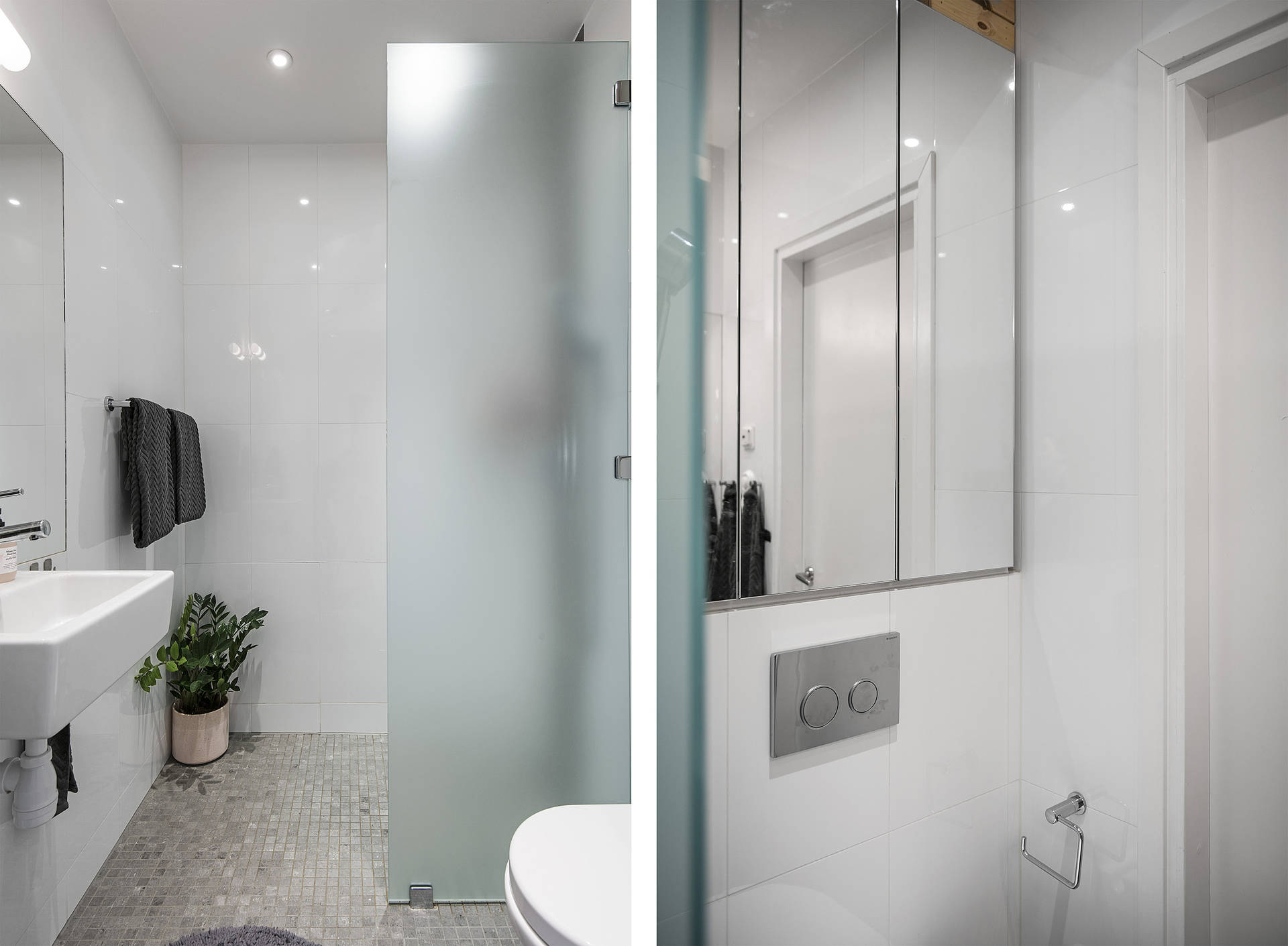 White tiles, glass partition and mirrors all helps create the illusion of space.